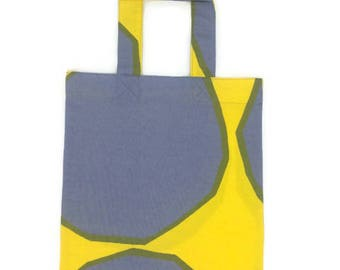New Handmade Reusable Cotton Shopping Tote Bag Shopper Made of Yellow and Grey Marimekko Kivet Fabric Finland Yellow and Grey