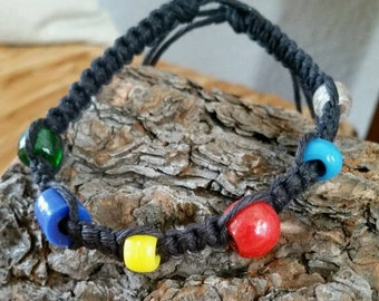Handmade Black Hemp Anklet with Multicolor beads.