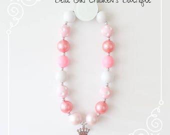 Bubblegum necklace, Pink Bubblegum Princess necklace, Children's necklace