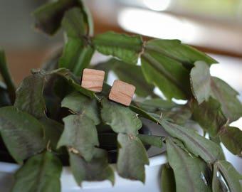 Wooden Square Stud Earrings