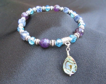 Calming, Soothing and Protecting Natural Gemstone Bracelet with Amethyst, Sodalite and Abalone Shell