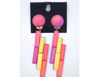 Retro Neon Earrings, Wood Earrings, 80s Earrings, 80s Accessories, Party, Purple, Pink, Gift for Girl, Colorful Accessories, 1980