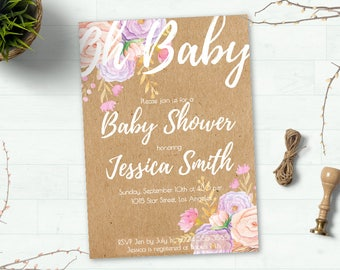 Rustic Baby Shower Invitation, Boho Girl Baby shower Invitation, Floral Baby Shower Invitation Printable, Baby Girl Shower Invitation