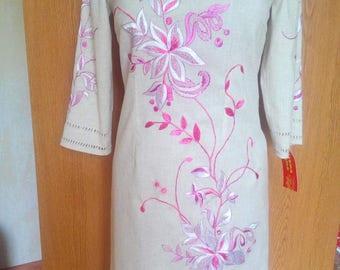 Embroidered flower dress pink embroidery vyshyvanka dress ukrainian embroidery birthday gift flower cloth white dress ukrainian fashion