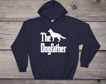 The Dogfather hooded sweatshirt, German Shepherd, Belgian Sheepdog, funny dog gift hoodie, The Godfather parody, dog lover sweater, dog gift
