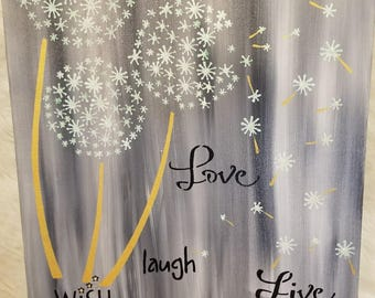 Inspirational painting Wish, Laugh, Love, Live