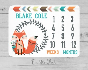 MILESTONE Baby Blanket, Tribal FOX Milestone Blanket, Tribal Baby Photography Backdrop, Personalized Boy Name, Newborn Boy Shower Gift