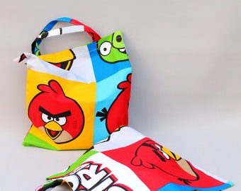 Angry birds tote bag for kids/ Kindergarten bag for child/ Halloween bag for sweets/ Shopping bag for children/ Books bag