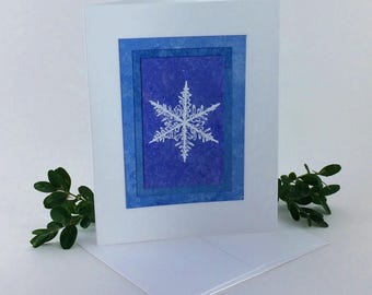 Snowflake blues embossed blank card, individually handmade on hand-painted papers: A2, winter, snow, let it snow, SKU BLA21035