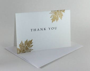 Gold oak leaf embossed thank you card, individually made: A1, thank you, notecards, fine card, SKU TYA11006