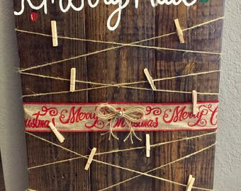 Merry mail Christmas card holder/ pallet wood Christmas sign/ Christmas decor/ holiday sign