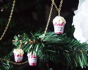 PopcornPack • Earrings + pop corn necklace cinema lovers jewelry design-handmade by Potpourridesign