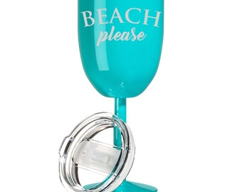 14 oz Double Wall Vacuum Insulated Stainless Steel Wine Tumbler Glass with Lid Funny Beach Please
