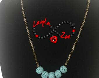 Lava Stone Diffuser Necklace, Essential Oil Aromatherapy Necklace. Lava Rock Jewelry, Lava Stone Necklace. FREE shipping in the U.S.