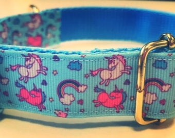 Unicorn and Rainbows Dog Collar