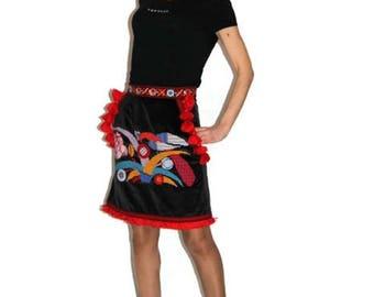 Custom Boho Clothing Vyshyvanka Velvet Embroidered Skirt Ukraine Ethnic Bohemian Skirts Vishivanka Chic nationale Clothing Gift Fairytale