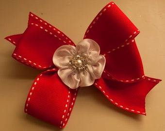 Red Hair Bow with White Flower Center, Alligator Clip