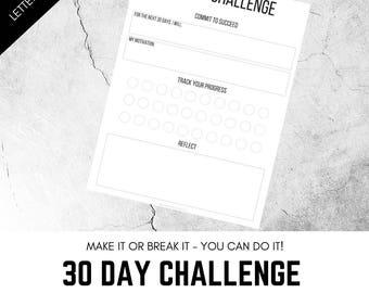 30 Day Challenge, Printable 30 Day Challenge Worksheet, Template, Challenge, 30 Days, Planner Inserts, Printables, Goals