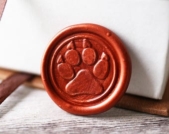 Paw print wax seal stamp kit, dog paw seal, pet paw gift set, gift for pet lover,cat paw,