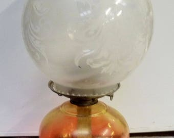 An Antique Victorian Satin Glass Oil Lamp