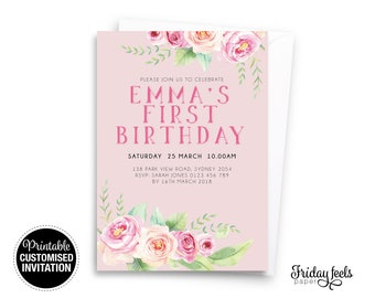 Floral Pink Watercolor Birthday Invitation, printable girl any age birthday party personalised Digital Download