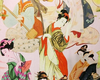 Digital beautiful Japan Lady printed faux silk satin fabric material for dressmaking and Decor by the meter YGST-5012