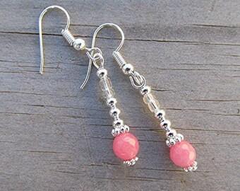 Pink jade earrings pink gemstone earrings pink earrings boho earrings hippie earrings dangle earrings silver earrings gift.