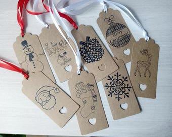 Set of 10 gift tags Christmas