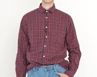 VINTAGE Red Checked Long Sleeve Button Downs Retro ESPRIT Shirt