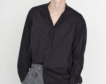 VINTAGE Black Dotted Long Sleeve Button Downs Retro Shirt