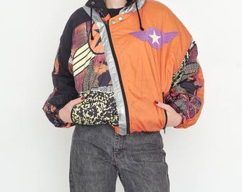 VINTAGE Orange Sky Military Lightweight Retro Bomber Jacket