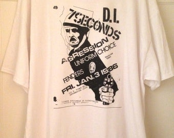 T-shirt Old Punk Rock Concert Flyer D.I. 7 Seconds Fenders Men's White