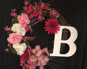 Handmade Spring Floral grapevine personalized wreath