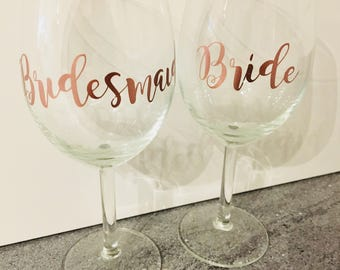 Bride/Bridesmaid/Maid of honor/Mother of the Bride Vinyl transfers, Wedding decal, Personalised Glasses, DIY transfer, Hen Party