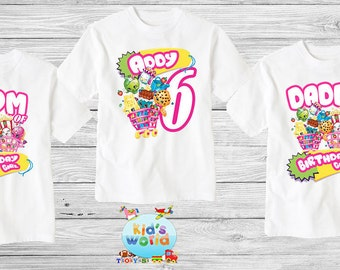 Shopkins Family birthday shirt, Custom shirt ,personalized shopkins  Shirt , family shirt,birthday shirt,kids custom birthday shirt d28