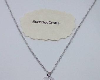 Handmade Tibetan Silver Paw Prints on Heart Necklace.