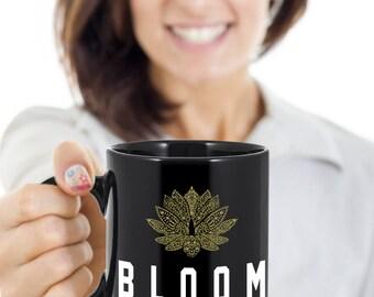 Bloom From Within Spiritual Coffee Mug, Yoga Gift Mug, Gold Lotus, Coffee or Tea Mug