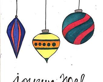 "Merry Christmas ""Joyeux Noel"" Card"