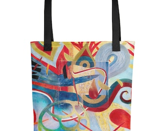 Red and Blue Ribbons - Amazingly beautiful full color tote bag with black handle featuring children's donated artwork.