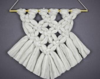 Grey melange Macrame wallhanging made of soft merino wool