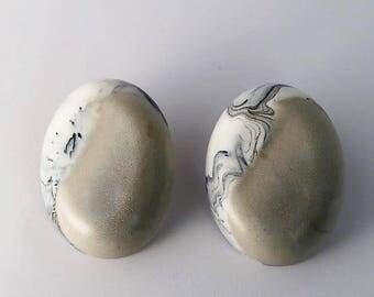 "Gold and Marble Resin Earrings - ""Anya"" Yin Yang Earrings"