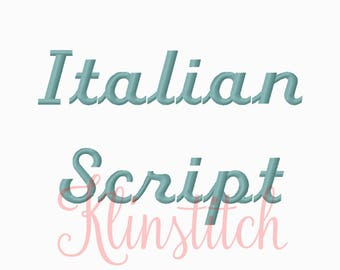 50% Sale!! Italian Script Embroidery Fonts 4 Sizes Fonts BX Fonts Embroidery Designs PES Fonts Alphabets - Instant Download