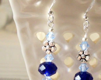 Blue Crystal Earrings with Daisies
