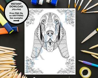 Zentangle Basset Coloring Page Kids Book Digital