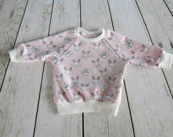 Handmade Casual Sweatshirt Blouse Hoodie Baby Kids Girls Toddler Pink Bunny Rabbit