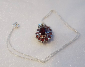 Sterling silver and Garnet pendant and chain