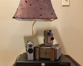 Vintage Movie Cameras Repurposed  Lamp