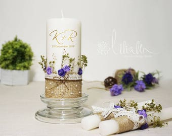 Personalized Lavender Garden Wedding Unity Candle Set