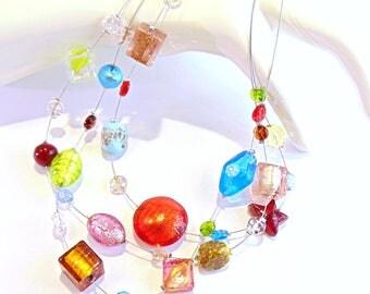 """""""Portofino"""" Necklace 3 strands in Multicolor Murano glass"""