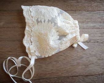 Macey- Cream Lace Bonnet with flower detailing